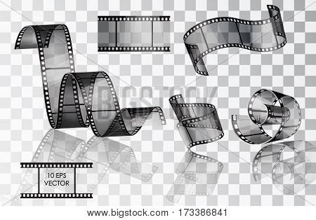 Set of curved photographic film. Film. Vector illustration. Twisted film. Vector slide. Movie scenes. A roll of film media. Isolated objects on a transparent background