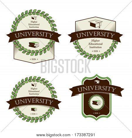 University college school. Icons set. Vector isolated