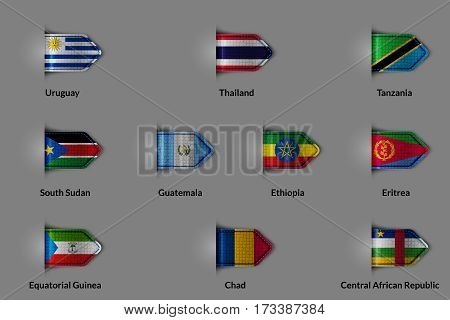 Set of flags in the form of a glossy textured label or bookmark. Uruguay Thailand Tanzania South Sudan Guatemala Ethiopia Eritrea Equatorial Guinea Chad Central African Republic. Vector illustration.