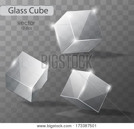 Set on a transparent glass cubes in different angles. Realistic vector object.