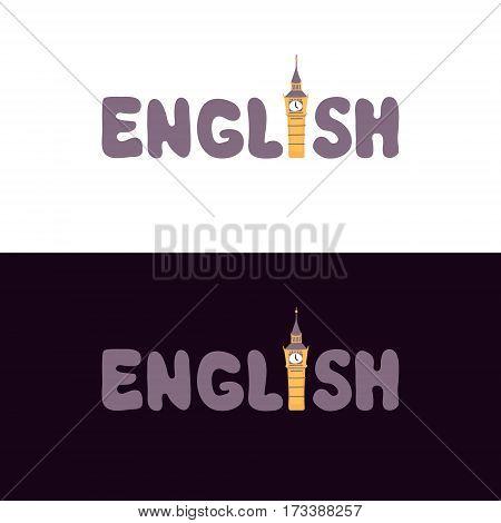 Stylized phrase English with national symbol. Flat vector illustration