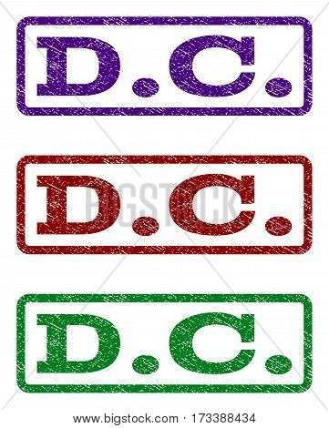 D.C. watermark stamp. Text caption inside rounded rectangle frame with grunge design style. Vector variants are indigo blue red green ink colors. Rubber seal stamp with dirty texture.