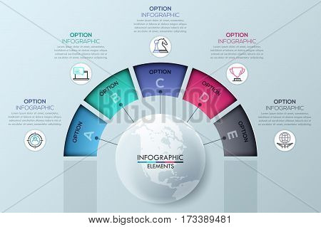 Circular infographic design template with 5 sectoral elements connected with center, options for business success. Project management concept. Vector illustration for website, presentation, brochure.