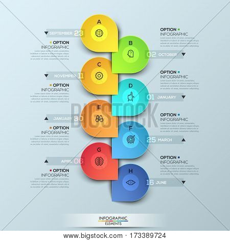 Infographic design template with vertical timeline and 8 connected elements, monthly business progress concept, company development steps. Vector illustration for presentation, brochure, report.