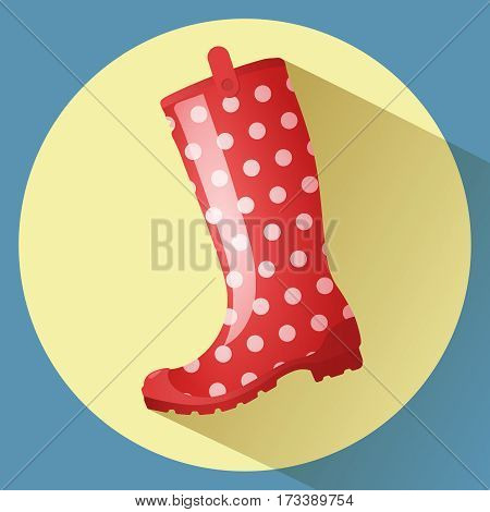Red classic rainboot with white dots pattern vector icon. Side view.