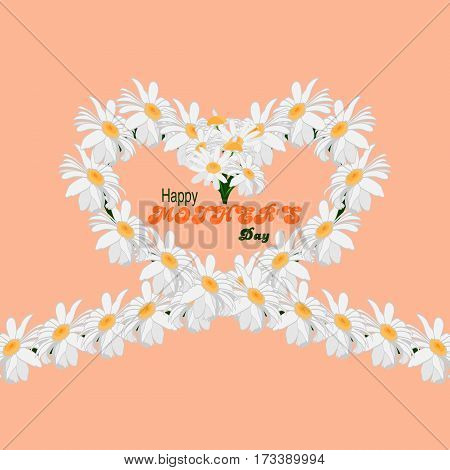 Happy Mothers Day concept background. Heart of chamomile flowers on a pink background with an inscription Happy Mothers Day. Vector illustration.