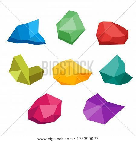 Set of untreated precious gems. Collection of crystal, diamond, ruby, diamond, sapphire, ruby. Natural resources. Vector, illustration in flat style isolated on white background EPS10