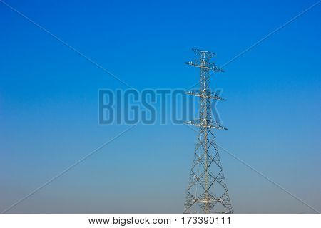 high voltage pole without wire and blue sky