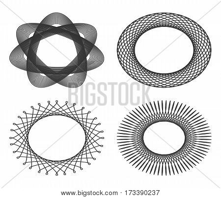 Set of oval guilloche design elements for certificates diplomas vouchers. Frames isolated on a white background. Vector illustration.