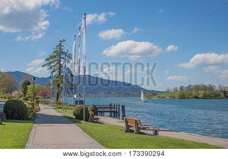 Beautiful Lakeside Promenade Rottach-egern With Benches And Flags, Tegernsee
