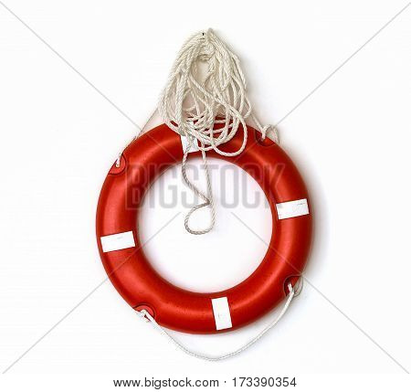 Close up lifebuoy isolated over white background
