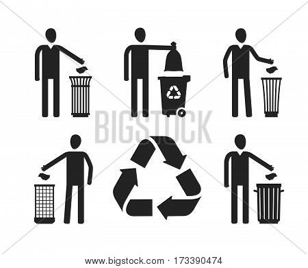 Trash can or bin with human figure. Recycling, set of icons or symbols. Vector illustration isolated on white background