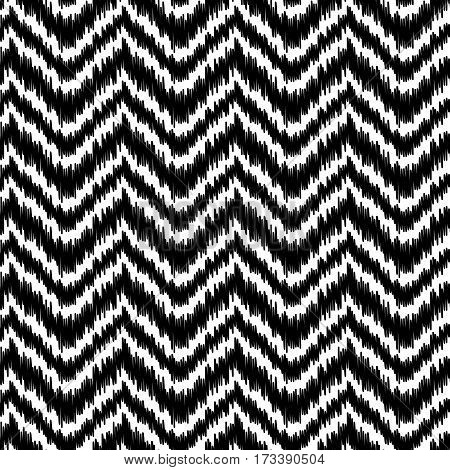 Ethnic black and white ikat abstract geometric chevron pattern, vector background