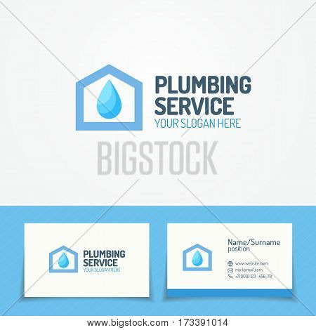 Plumbing service logo set with house and water drop and business card for used plumbing and heating company, sanitary and hygiene firm, fix and repair leak and pipe etc. Vector Illustration