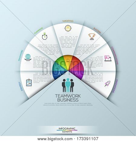 Circular infographic design template with 7 sectoral elements connected with center. Startup company launch, successful teamwork business concept. Vector illustration for presentation, report, banner.