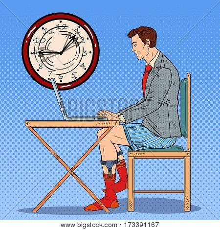 Pop Art Man Working Late at Home with Laptop. Work Overtime. Vector illustration