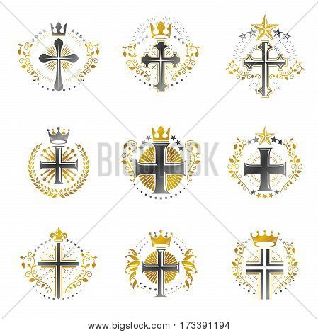 Christian Crosses emblems set. Heraldic Coat of Arms decorative vector illustrations collection.