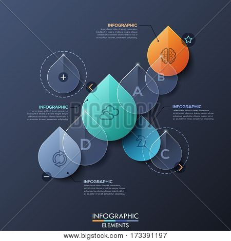 Infographic design layout with separate elements in shape of transparent water drops. Freshwater resources, water supply chain, eco-friendly business concept. Vector illustration for report, website.