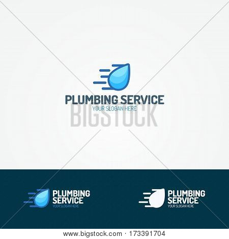 Plumbing service logo set with flying water drop for used plumbing and heating company, sanitary and hygiene firm, fix and repair leak and pipe etc. Vector Illustration