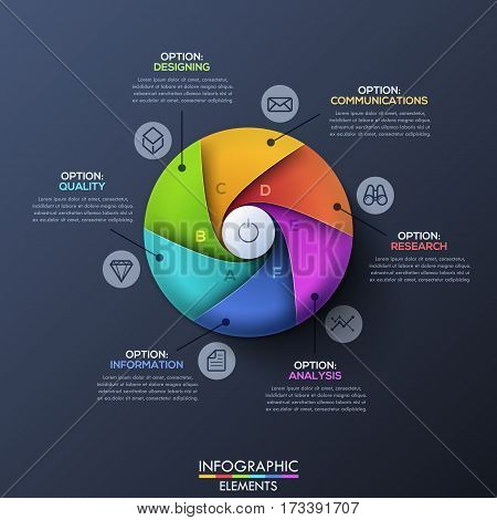Infographic design template. Circle divided by 6 lettered spiral sectors and start button in center. Business development process and goal setting concept. Vector illustration for website, report.