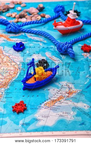 Symbolic Ship On The Map