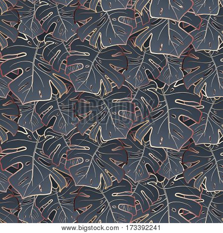 Seamless pattern on a dark grey background. Fashionable graphite color. Bronze outline. Large trendy monstera leaves. Vector. Funky texture for wallpaper, wrapper, or cover.