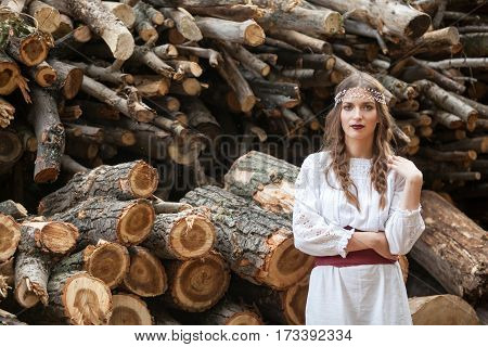 Beautiful Woman In Traditional Romanian Costume