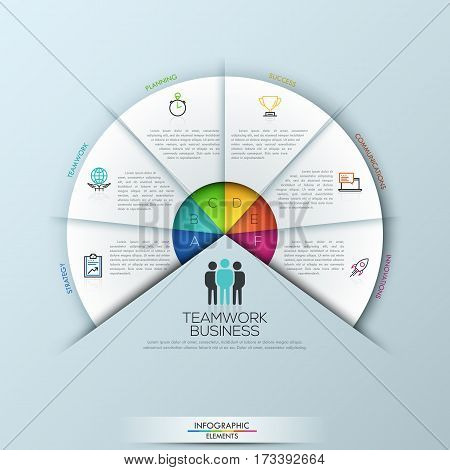 Circular infographic design template with 6 sectoral elements connected with center. Steps to success and project management concept. Vector illustration for website, presentation, report, brochure.