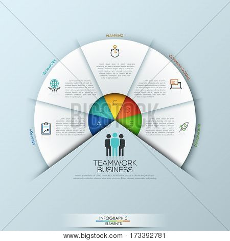 Rounded infographic design layout with 5 sectoral elements connected with center, features of successful teamwork. Project management concept. Vector illustration for website, presentation, report.