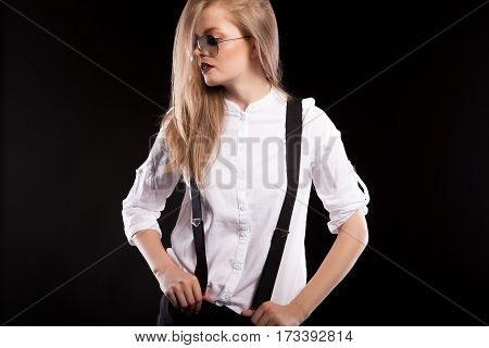Sensual Woman In Glasses And Suspenders