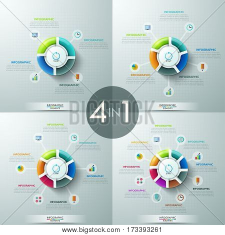 Set of 4 circular infographic design templates with 4, 5, 6 and 8 sectoral elements, start button in center and text boxes. Startup launch concepts. Vector illustration for presentation, brochure.