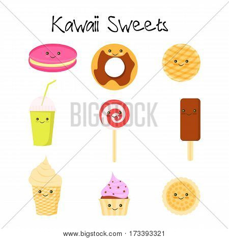 Collection of lovely baby sweet and dessert doodle icon , cute cake , adorable candy , sweet ice cream , kawaii jelly bean , girly cookie in childlike manga cartoon style