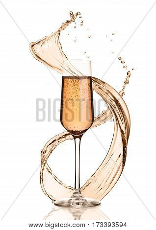 Glass of pink champagne with splashes and bubbleson white background