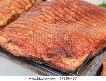 Deep fried pork belly (Crispy pork) for food image, Selective focus