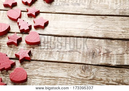 Decorative Fir-tree, Star And Heart On Brown Wooden Table