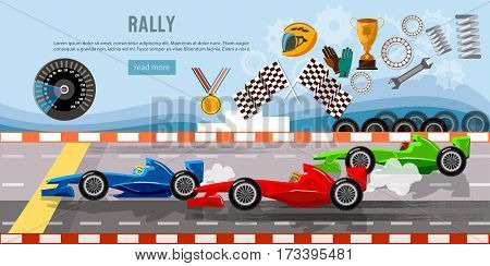 Car racing banner. Tyre drift on race circuit finish line. Motor racing cars on a start line formula car speeding