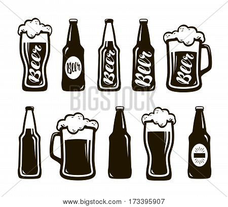 Glass of beer, ale, lager. Mug, bottle set of icons. Oktoberfest, restaurant, pub, bar symbol. Vector illustration isolated on white background