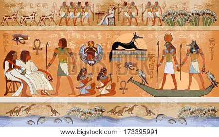 Ancient Egypt scene mythology. Egyptian gods and pharaohs. Hieroglyphic carvings on the exterior walls of an ancient temple