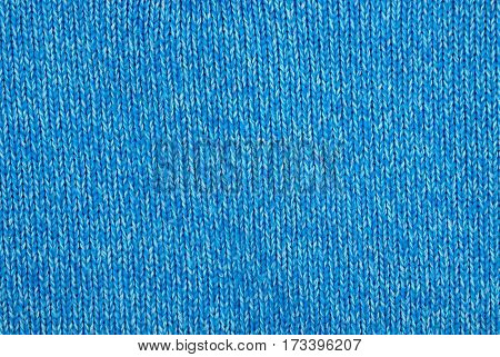 texture of knitted yarn blue facial loops
