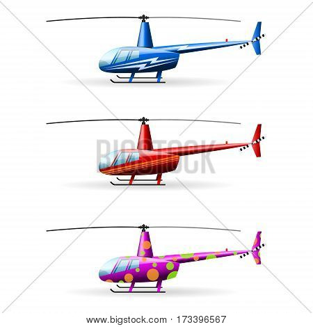 Set helicopters. White background. isolated objects Vector Image