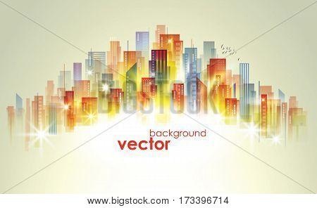 Colorful City Skyline, Vector Illustration