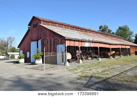 IRVINE, CALIFORNIA - FEBRUARY 24, 2017: The Driving Barn. On the grounds of the Irvine Ranch Historic Park the barn was used to house farm equipment.