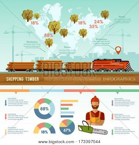 Logging industry infographic. World trade by wood. Deforestation preparation of firewood power-saw bench transportation of logs by train