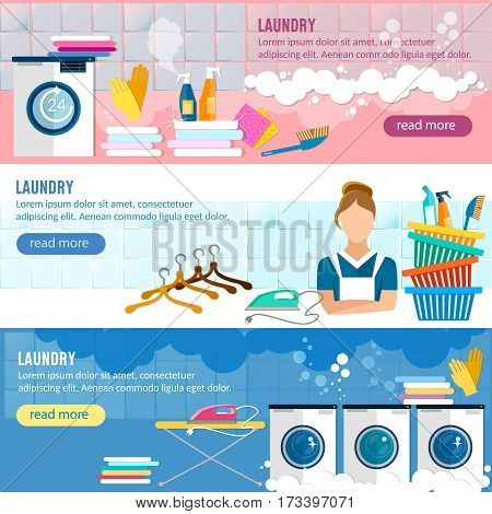 Laundry service banner washing clothes laundry staff and washing machine