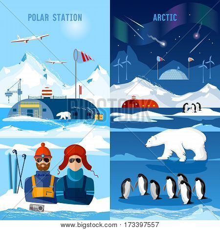 Travel to Antarctica banners. Scientific station on North Pole. Arctic and Antarctic tourism. Fauna of Antarctic polar bear penguins