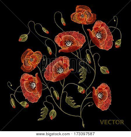 Embroidery beautiful poppies. Decorative floral embroidery elegant flowers poppy vector