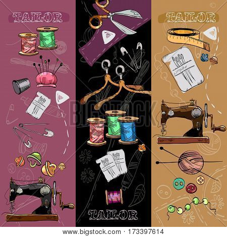 Tailor banners tailoring tools seamstress fashion designer needlework hand drawn vector