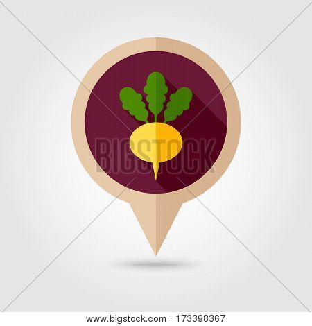 Turnip flat vector pin map icon. Map pointer. Map markers. Vegetable root vector illustration