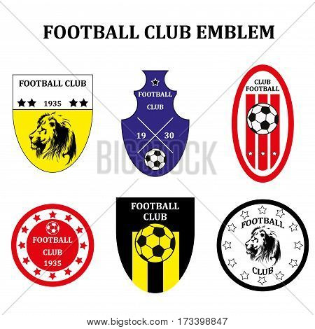 Set of different Soccer Football emblem or Logo Template. stock vector illustration