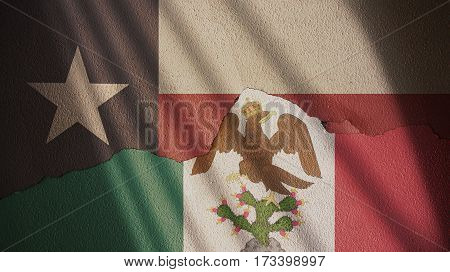 Texas and Mexican Empire Flag. Independence Day